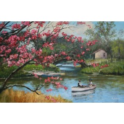 Boating Near The Blossoms